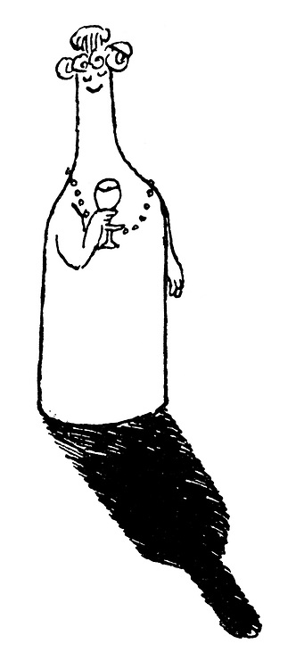 Alcohoffnung. (A lady shaped like a wine bottle)