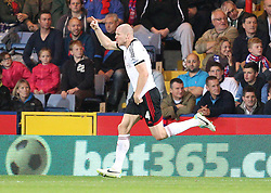 Fulham's Philippe Senderos scores his sides fourth goal and celebrates - Photo mandatory by-line: Robin White/JMP - Tel: Mobile: 07966 386802 21/10/2013 - SPORT - FOOTBALL - Selhurst Park - London - Crystal Palace V Fulham - Barclays Premier League