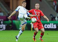 Fotball<br /> 16.06.2012<br /> EM 2012<br /> Russland v Hellas<br /> Foto: Witters/Digitalsport<br /> NORWAY ONLY<br /> <br /> v.r. Denis Glushakov (Denis Gluschakow, Russland), Kostas Katsouranis (Griechenland)<br /> Fussball EURO 2012, Vorrunde, Gruppe A, Griechenland - Russland