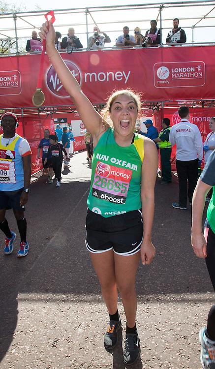 Miquita Oliver, TV and radio presenter at the end of the Virgin Money London Marathon 2014 on Sunday 13 April 2014<br /> Photo: Roger Allan/Virgin Money London Marathon<br /> media@london-marathon.co.uk