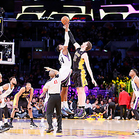 28 February 2014: Sacramento Kings power forward Jason Thompson (34) and Los Angeles Lakers center Pau Gasol (16) jump for the ball during the Los Angeles Lakers 126-122 victory over the Sacramento Kings at the Staples Center, Los Angeles, California, USA.