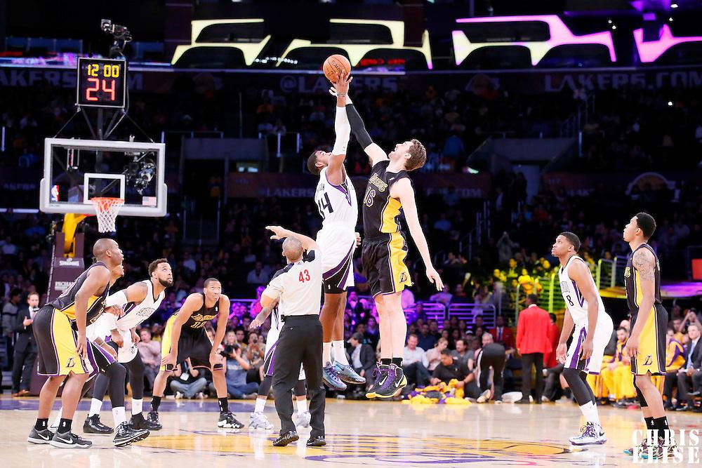 28 February 2014: Sacramento Kings power forward Jason Thompson (34) and Los Angeles Lakers center Pau Gasol (16) jump for the ball during the Los Angeles Lakers 126-122 victory over the Sacramento Kings at the Staples Center, Los Angeles, California, USA.