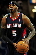 March 27, 2011; Cleveland, OH, USA; Atlanta Hawks power forward Josh Smith (5) prepares to shoot a free trow during the third quarter against the Cleveland Cavaliers at Quicken Loans Arena. The Hawks beat the Cavaliers 99-83. Mandatory Credit: Jason Miller-US PRESSWIRE