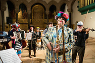 Philadelphia PA / USA. West Philadelphia's Kol Tzedek Synagogue celebrate Purim with a hilarious satire performance with Councilwoman Helen Gym, Klezmer band and dance party at the Philadelphia Episcopal Cathedral. February 24 2018.