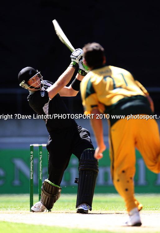 NZ's Martin Guptill hits a six.<br /> Fifth Chappell-Hadlee Trophy one-day international cricket match - New Zealand v Australia at Westpac Stadium, Wellington. Saturday, 13 March 2010. Photo: Dave Lintott/PHOTOSPORT