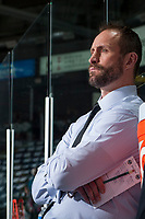 KELOWNA, CANADA - APRIL 7: Kelowna Rockets' head coach, Jason Smith stands on the bench during warm up against the Portland Winterhawks on April 7, 2017 at Prospera Place in Kelowna, British Columbia, Canada.  (Photo by Marissa Baecker/Shoot the Breeze)  *** Local Caption ***