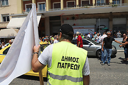 July 3, 2018 - Athens, Attiki, Greece - Demonstration of contract staff that work in Greek municipalities, in front of the Greek Ministry of Interior demanding from the Greek government to be established. (Credit Image: © George Panagakis/Pacific Press via ZUMA Wire)