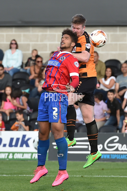 Josh Passley of Dagenham and Redbridge and Curtis Weston of Barnet fight for ball during the Sky Bet League 2 match between Barnet and Dagenham and Redbridge at Hive Stadium, London, England on 26 September 2015. Photo by Ian Lyall.