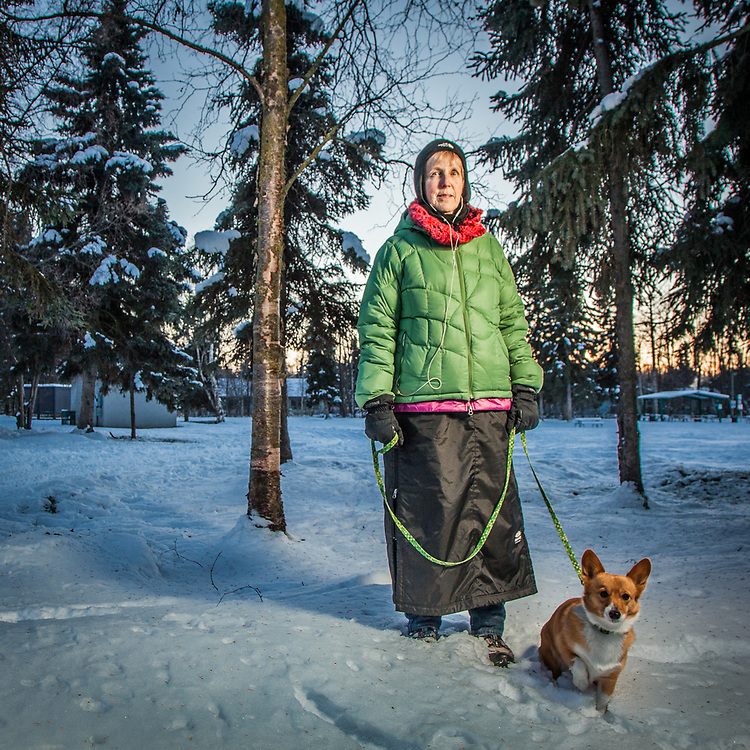 Kee Miner with her six year old corgi, Poppy, at the Valley of the Moon Park, Anchorage  keeminer@ak.net