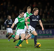 24th January 2018, Dens Park, Dundee, Scottish Premiership, Dundee versus Hibernian; Dundee's Mark O'Hara goes past Hibernian's John McGinn