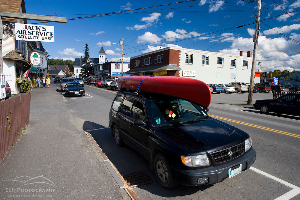 Traffic on Maine Route 15 in Greenville, Maine.
