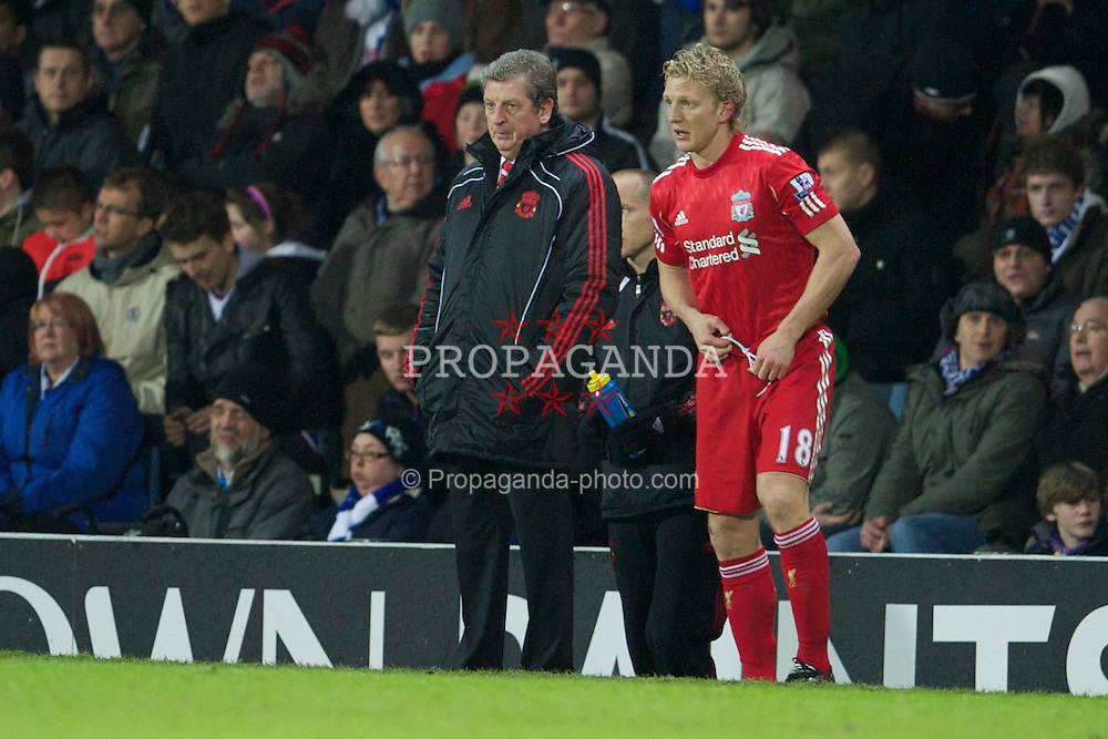 BLACKBURN, ENGLAND - Wednesday, January 5, 2011: Liverpool's manager Roy Hodgson and Dirk Kuyt during the Premiership match against Blackburn Rovers at Ewood Park. (Pic by: David Rawcliffe/Propaganda)