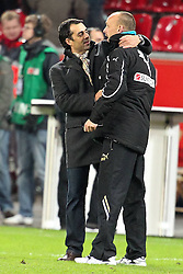 02.12.2011, BayArena, Leverkusen, GER, 1.FBL, Bayer 04 Leverkusen vs TSG Hoffenheim, im BildRobin Dutt (Trainer Leverkusen) und Holger Stanislawski (Trainer Hoffenheim) nach dem spiel // during the 1.FBL, Bayer Leverkusen vs TSG Hoffenheim on 2011/12/02, BayArena, Leverkusen, Germany. EXPA Pictures © 2011, PhotoCredit: EXPA/ nph/ Mueller..***** ATTENTION - OUT OF GER, CRO *****