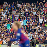 BARCELONA, SPAIN - August 25:  Barcelona fans react as Antoine Griezmann #17 of Barcelona scores his first league goal for the club during the Barcelona V  Real Betis, La Liga regular season match at  Estadio Camp Nou on August 25th 2019 in Barcelona, Spain. (Photo by Tim Clayton/Corbis via Getty Images)