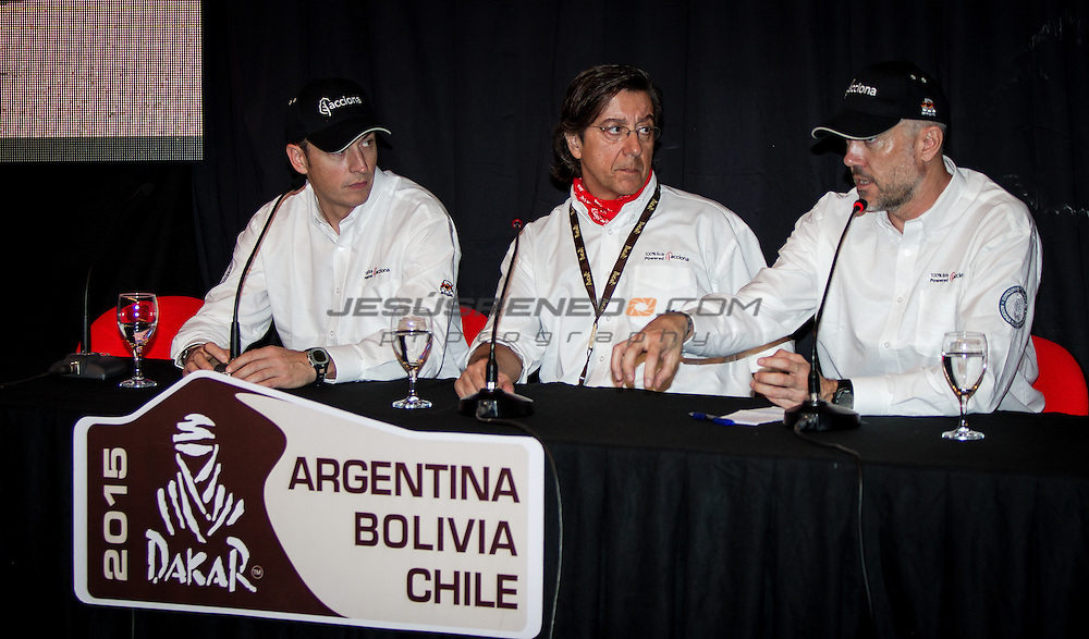 Acciona 100x100 ecopowered,electric car, in Buenos Aires, Argentina, one day before the start of the race . press conference, Pio Cabanillas, Albert Bosch and Agustín Payá.