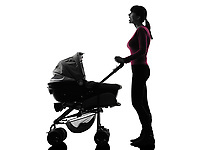 one  woman prams baby looking up surprised silhouette on white background
