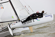 08_004314 © Sander van der Borch. Medemblik - The Netherlands,  May 25th 2008 . Sebbe Godefroid and Carolijn Brouwer sailing just after the finish of the medal race of the Delta Lloyd Regatta 2008.