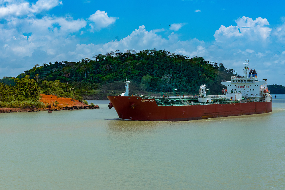 Panama Canal, Panama--April 18, 2018. Oil and Chemical cargo ship makes its way down the Panama Canal. Editorial use only.
