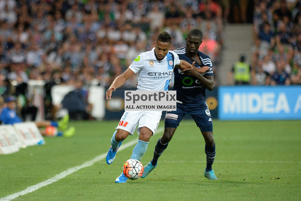 Harry Novillo of Melbourne City, Jason Geria of Melbourne Victory - Hyundai A-League, 19th December 2015, RD11 match between Melbourne City FC v Melbourne Victory FC at Aami Park in a 2:1 win to City in front of a 23,000+ crowd. Melbourne Australia. © Mark Avellino | SportPix.org.uk