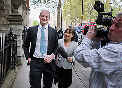 © Licensed to London News Pictures. 20/04/2017. London, UK. Former Conservative and UKIP MP Douglas Carswell is greeted by former UKIP leadership challenger and MEP Suzanne Evans near Parliament after it was announced that he will not contest his Clacton-on-Sea parliamentary seat in the geneneral election on June 8th 2017. Photo credit: Peter Macdiarmid/LNP