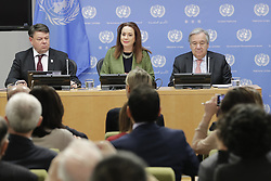 March 28, 2019 - New York, NY, USA - United Nations, New York, USA, March 28, 2019 - Petteri Taalas, Secretary-General of the World Meteorological Organization (WMO), speaks at the press briefing to launch the WMO Statement on the State of the Global Climate 2018 and an update on Extreme Weather in 2019. At right is Secretary-General Antonio Guterres and in the centre is Maria Fernanda Espinosa Garces, President of the seventy-third session of the General Assembly today at the UN Headquarters in New York..Photo: Luiz Rampelotto/EuropaNewswire (Credit Image: © Luiz Rampelotto/ZUMA Wire)