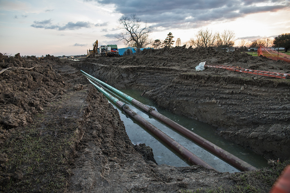 Pipeline in a ditch in St. James, Lousiana.