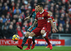 Dejan Lovren of Liverpool (R) shields the ball from Shane Long of Southampton - Mandatory by-line: Jack Phillips/JMP - 18/11/2017 - FOOTBALL - Anfield - Liverpool, England - Liverpool v Southampton - English Premier League