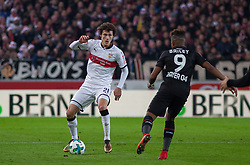 December 8, 2017 - Stuttgart, Germany - Stuttgarts Benjamin Pavard in a duel with Leverkusens Leon Bailey during the Bundesliga match between VfB Stuttgart and Bayer 04 Leverkusen at Mercedes-Benz Arena on December 8, 2017 in Stuttgart, Germany. (Credit Image: © Bartek Langer/NurPhoto via ZUMA Press)