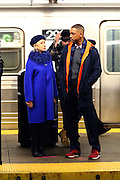 March 14, 2016 - New York City, NY, USA - <br /> <br /> Just the ticket! Dame Helen Mirren looks chic in blue coat and navy beret as she joins Will Smith to film scenes in a subway station on the NYC set for Collateral Beauty<br /> <br /> Actors Helen Mirren and Will Smith shooting a scene in a Brooklyn Subway station for the new movie 'Collateral Beauty' <br /> ©Exclusivepix Media