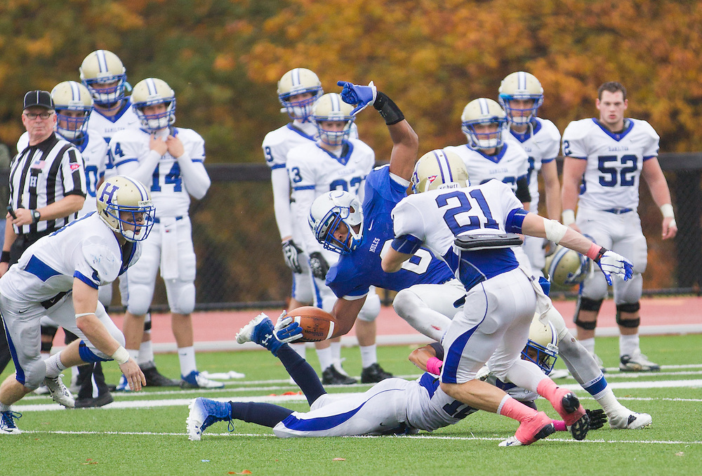 Derrick Beasley, of Colby College, in an NCAA Division III college football game at Seaverns Field at Harold Alfond Stadium, Saturday Oct. 20, 2012 in Waterville, ME. (Dustin Satloff/Colby College Athletics)