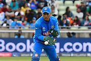 MS Dhoni of India keeping wicket during the ICC Cricket World Cup 2019 match between Bangladesh and India at Edgbaston, Birmingham, United Kingdom on 2 July 2019.