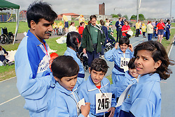 Group of children with disabilities and their coach from India taking part in Mini games sports event held at Stoke Mandeville Stadium,