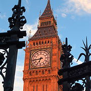 Tower of Big Ben through open gate of Westminster Palace, London, England, UK<br />
