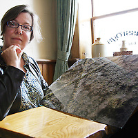 Deirdre O' Mahoney with her piece 'The Cross Land' which was commissioned Clare County Arts.<br /><br /><br /><br />Photograph by Yvonne Vaughan.