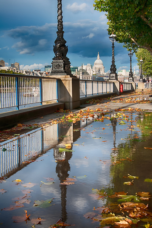 reflection in puddle with autumn leaves, London