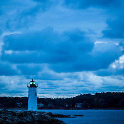 The Portsmouth Harbor Light on a cloudy morning in New Castle, New Hampshire.