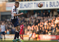 Football - 2016 / 2017 FA Cup - Fifth Round: Millwall vs. Leicester City <br /> <br /> Steve Morison of Millwall watches his header at The Den<br /> <br /> COLORSPORT/DANIEL BEARHAM