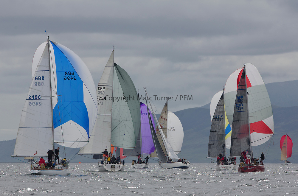 Silvers Marine Scottish Series 2017<br /> Tarbert Loch Fyne - Sailing<br /> <br /> GBR4203, Stargazer, A Bilsland /A Campbell, Arran Yacht Club, Grand Soleil 34 downwind with L290, Can Can IV, Jack &amp; Jackie Thoms, RORC/ Royal Southern, Swan 40, <br /> <br /> Credit: Marc Turner / CCC