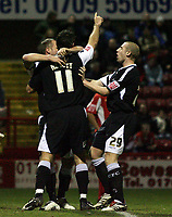 Photo: Paul Thomas.<br /> Rotherham United v Swansea City. Coca Cola League 2. 27/02/2007.<br /> <br /> Goal scorer Pawel Abbott (11) of Swansea celebrates with team-mates.