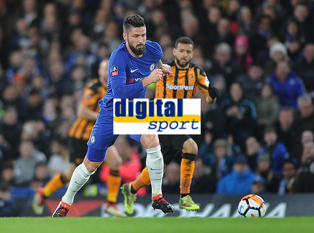 Football - 2017 / 2018 FA Cup - Fifth Round: Chelsea vs. Hull City<br /> <br /> Olivier Giroud of Chelsea, at Stamford Bridge.<br /> <br /> COLORSPORT/ANDREW COWIE