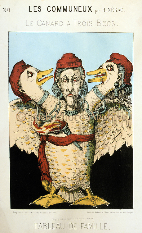 Paris Commune 26 March-28 May 1871. 'The Duck with Three Beaks' cartoon ridiculing the Commune, Communist Internationale and the Central Committee. France