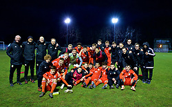BANGOR, WALES - Tuesday, November 20, 2018: Wales players and staff celebrate on the pitch after a 2-0 victory over San Marino in the UEFA Under-19 Championship 2019 Qualifying Group 4 match between Wales and San Marino at the Nantporth Stadium. (Pic by Paul Greenwood/Propaganda)