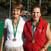 Joy Rigter, Australia, (left) and Joyce Rogers, Australia, Semi Finalists 70 Womens doubles competition during the 2009 ITF Super-Seniors World Team and Individual Championships at Perth, Western Australia, between 2-15th November, 2009