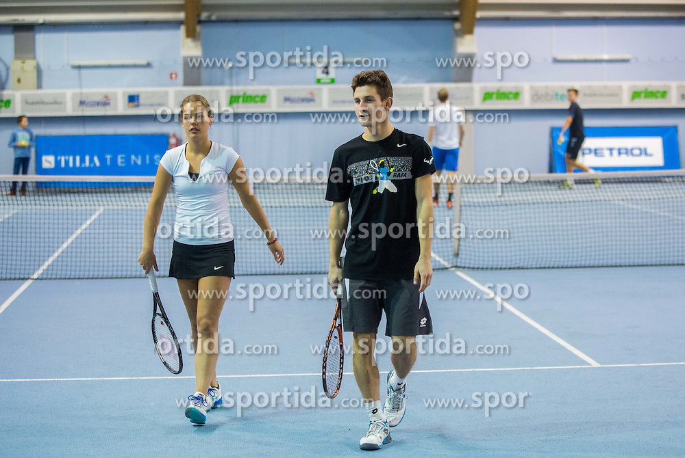 Hana Mraz and Grega Kokalj at Tennis Exhibition after the Slovenian Tennis personality of the year 2014 annual awards presented by Slovene Tennis Association TZS , on December 6, 2014 in Millenium Centre, BTC, Ljubljana, Slovenia. Photo by Vid Ponikvar / Sportida
