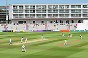 Surrey fielders surround the wicket as Hampshire bat during the Specsavers County Champ Div 1 match between Hampshire County Cricket Club and Surrey County Cricket Club at the Ageas Bowl, Southampton, United Kingdom on 11 June 2018. Picture by Graham Hunt.