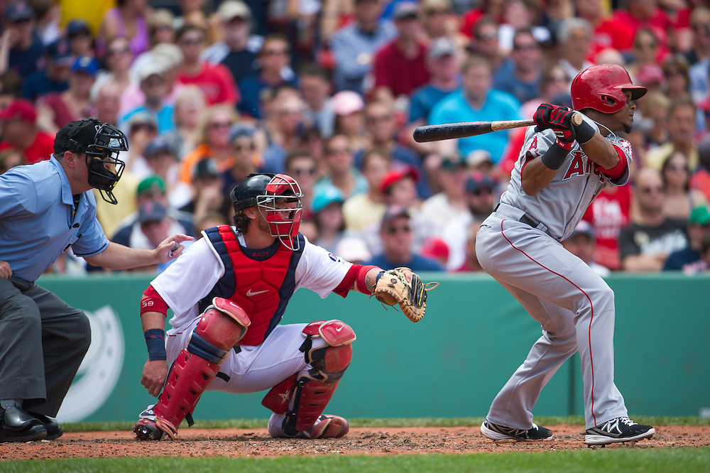 BOSTON, MA - JUNE 09: Erick Aybar #2 of the Los Angeles Angels bats during the game against the Boston Red Sox at Fenway Park in Boston, Massachusetts on June 9, 2013. (Photo by Rob Tringali) *** Local Caption *** Erick Aybar