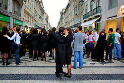 PORTUGAL LISBON 6OCT06 - Lovers kiss during a student event on Rua Augusta, Baixa, Lisbon.. . jre/Photo by Jiri Rezac. . © Jiri Rezac 2006. . Contact: +44 (0) 7050 110 417. Mobile:  +44 (0) 7801 337 683. Office:  +44 (0) 20 8968 9635. . Email:   jiri@jirirezac.com. Web:    www.jirirezac.com. . © All images Jiri Rezac 2006 - All rights reserved.