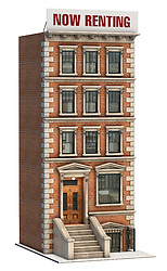 Brownstone apartment building on a white background
