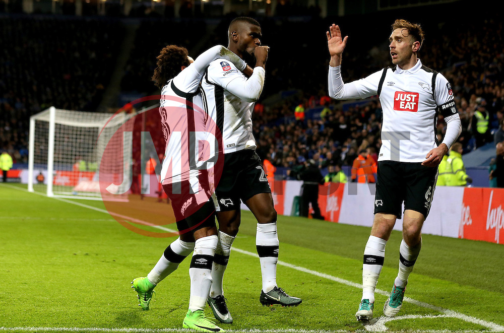Abdoul Razzagui Camara of Derby County celebrates with teammates after scoring a goal to make it 1-1 against Leicester City - Mandatory by-line: Robbie Stephenson/JMP - 08/02/2017 - FOOTBALL - King Power Stadium - Leicester, England - Leicester City v Derby County - Emirates FA Cup fourth round replay