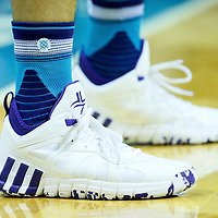 01 November 2015: Close view of Charlotte Hornets guard Jeremy Lin (7) shoes during the Atlanta Hawks 94-92 victory over the Charlotte Hornets, at the Time Warner Cable Arena, in Charlotte, North Carolina, USA.